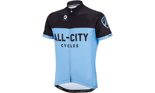 Blue and black classic All-City Jersey on white background