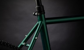 Black All-City Shot Collar on green bike with black background