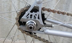 Black All-City Standard Lockring on silver bike with outdoor background