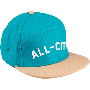 Blue and tan Chome Dome 3.0 hat on white background front view