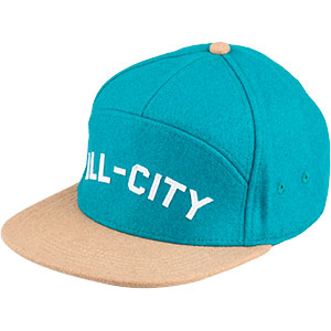 Blue and tan Chome Dome 3.0 hat on white background front view, 2 of 4