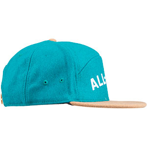 Blue and tan Chome Dome 3.0 hat on white background side view, 3 of 4