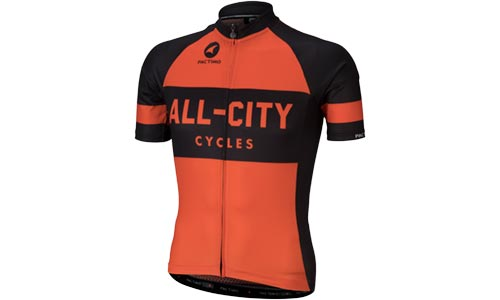 Black and orange All-City classic jersey 2.0 on white background
