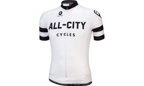 Classic white All-City Cycles jersey on a white background