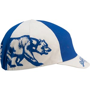 blue and white All-City Cycles Cali Cap on white background side view, 2 of 4