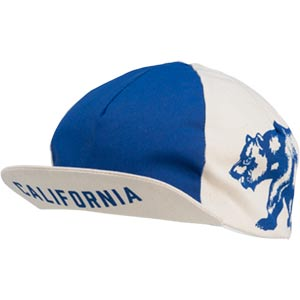 blue and white All-City Cycles Cali Cap on white background front view, 3 of 4