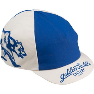 blue and white All-City Cycles Cali Cap on white background front view