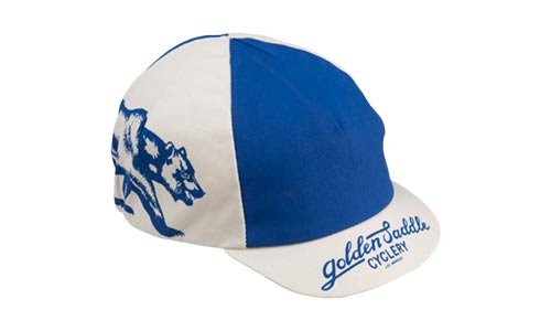 blue and white All-City Cycles Cali Cap on white background