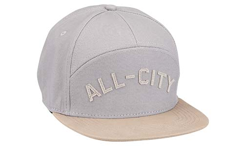 Light grey and tan All-City damn fine hat on a white background