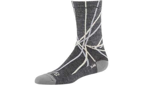 Grey socks with silver and gold spindle pattern on a white background