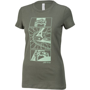 Grey womens damn fine t-shirt with teal cycling details on a white background, 2 of 2