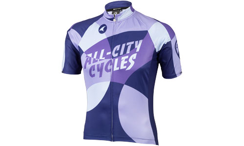 All-City purple and white Dot Game jersey on white background