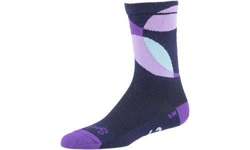 All-City purple, black, and white Dot Game wool socks on white background