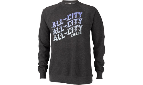 Grey All-City Flow Motion crewneck sweatshirt on white background