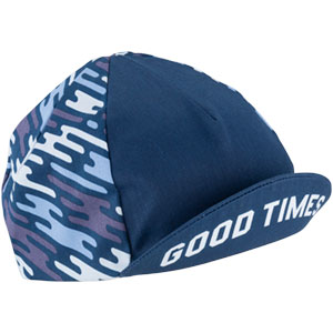 Blue All-City flow motion cycling cap on white background front view with bill flipped up, 2 of 5
