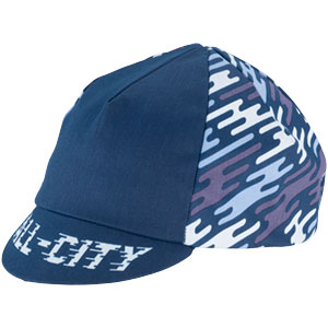 Blue All-City flow motion cycling cap on white background front view, 3 of 5