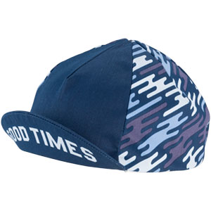 Blue All-City flow motion cycling cap on white background front view with bill flipped up, 4 of 5