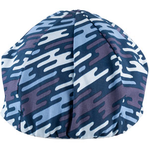 Blue All-City flow motion cycling cap on white background back view, 5 of 5