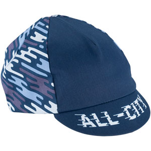 Blue All-City flow motion cycling cap on white background front view