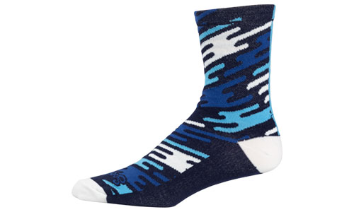 All-City Flow Motion blue and white wool socks on white background