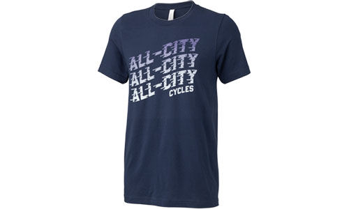 Blue All-City flow motion t-shirt on white background