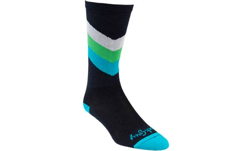 Blue, green, white and black interstellar wool cycling sock on white background