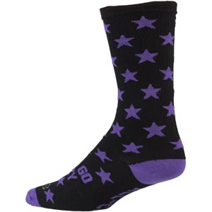 Black and Purple All-City Let's Go crazy wool socks on white background back view, 3 of 3
