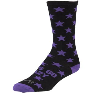 Black and Purple All-City Let's Go crazy wool socks on white background side view, 2 of 3