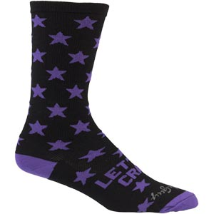 Black and Purple All-City Let's Go crazy wool socks on white background front view