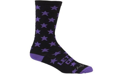 Black and Purple All-City Let's Go crazy wool socks on white background