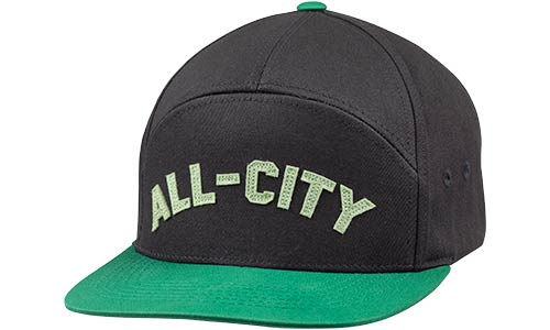 All-City Logowear Hat, black and green, front view on white background