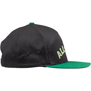All-City Logowear Hat, black and green, side view on white background, 2 of 3