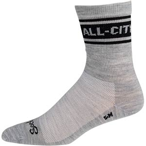 All-City Logowear Wool Socks side view, gray and black on white background