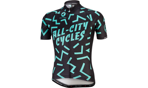 Black and teal The Max Kit jersey in front of white background