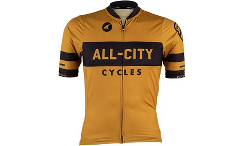 Men's All-City Classic Logowear Jersey, front view, mustard brown