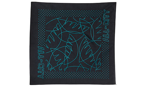 All-City Night Claw Bandana, black with teal illustrated line art eyes and jungle leaves bordered by dots and All-City logo