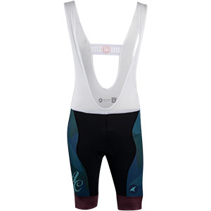 Men's All-City black, teal and purple Night Claw bib short front view on white background