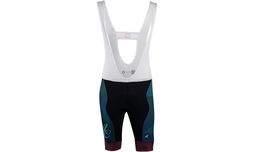 All-City black, teal and purple Night Claw bib short on white background