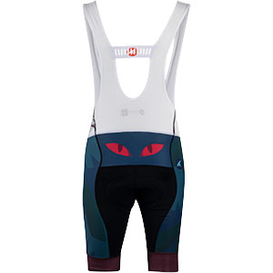 Men's All-City black, teal and purple Night Claw bib short rear view on white background, 2 of 3