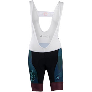 Women's All-City black, teal and purple Night Claw bib short front view on white background, 3 of 3