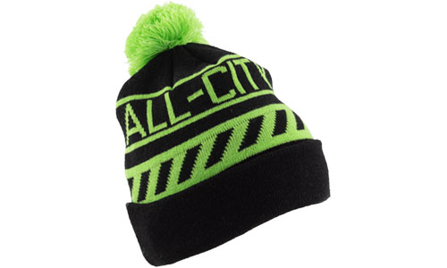Green and black All-city Angry catfish sledding cap on white background