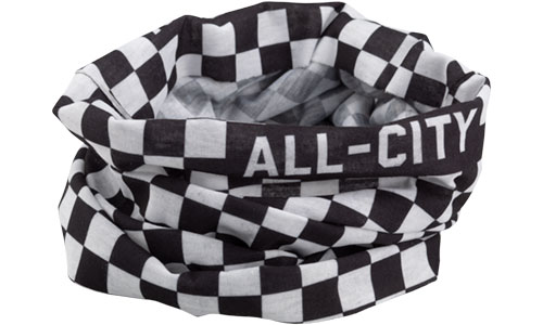 Black and white All-City Cycles Tu Tone Neck Gaiter on white background