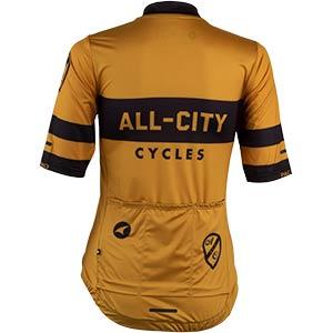 Women's All-City Classic Logowear Jersey, rear view, mustard brown, 4 of 4