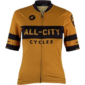 Women's All-City Classic Logowear Jersey, front view, mustard brown, 3 of 4