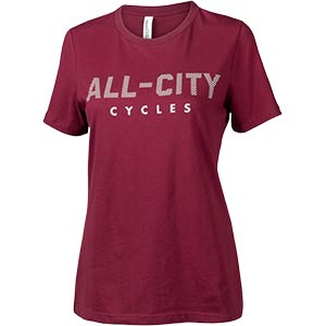 Women's All-City Logowear T-Shirt, front, maroon, on white background, 2 of 2