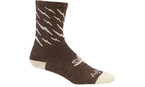 Brown and tan Y'All-City wool socks on a white background