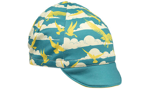 Blue and gold fly high cycling cap side view on white background