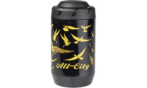 KEG container, bottle with gold bird pattern over black background