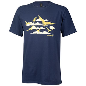 Mens navy fly high t-shirt with gold cloud and bird pattern on white background front view