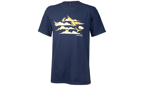 Navy fly high t-shirt with gold cloud and bird pattern on white background